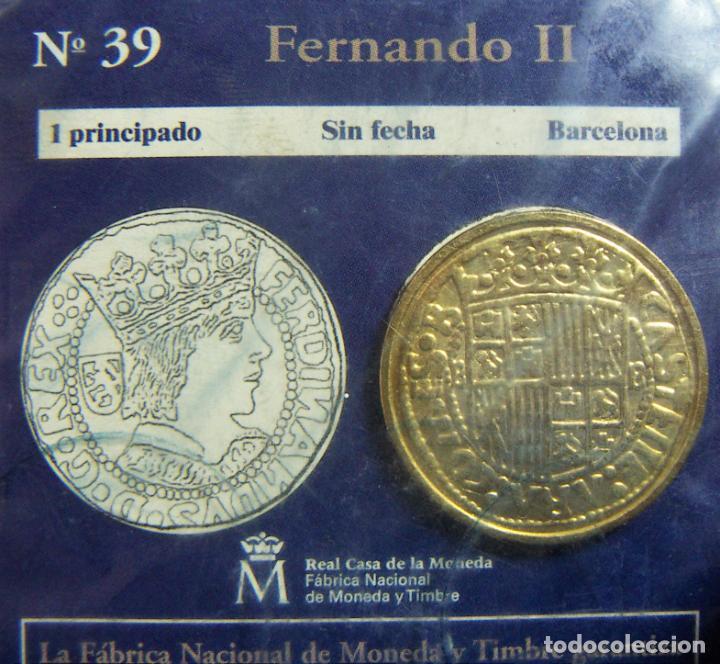 REPRODUCCION MONEDA FERNANDO II 1 PRINCIPADO BARCELONA BAÑO DE ORO EN ENVASE ORIGINAL (Numismática - España Modernas y Contemporáneas - FNMT)