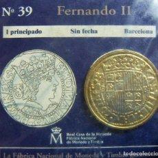 Monedas FNMT: REPRODUCCION MONEDA FERNANDO II 1 PRINCIPADO BARCELONA BAÑO DE ORO EN ENVASE ORIGINAL. Lote 254114050