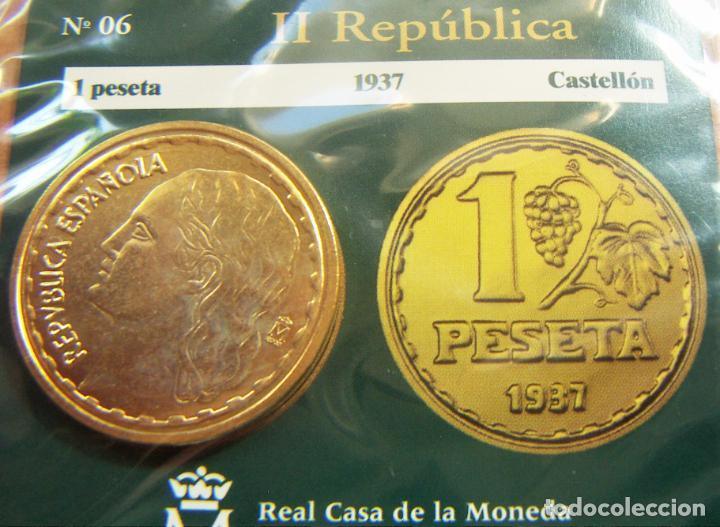 REPRODUCCION MONEDA II REPUBLICA 1 PESETA 1937 BAÑO DE ORO EN ENVASE ORIGINAL (Numismática - España Modernas y Contemporáneas - FNMT)