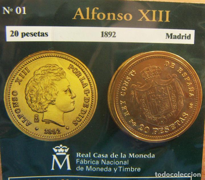 REPRODUCCION MONEDA ALFONSO XIII 20 PESETAS 1892 MADRID BAÑO DE ORO EN ENVASE ORIGINAL (Numismática - España Modernas y Contemporáneas - FNMT)