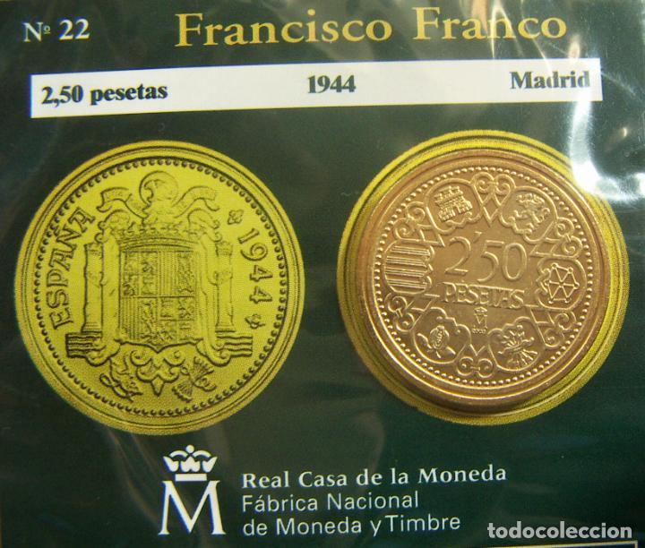 REPRODUCCION MONEDA FRANCISCO FRANCO 2,50 PESETAS 1944 BAÑO DE ORO EN ENVASE ORIGINAL (Numismática - España Modernas y Contemporáneas - FNMT)
