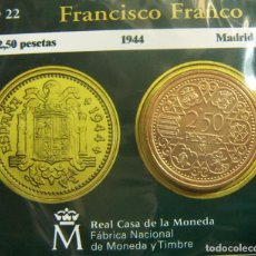 Monedas FNMT: REPRODUCCION MONEDA FRANCISCO FRANCO 2,50 PESETAS 1944 BAÑO DE ORO EN ENVASE ORIGINAL. Lote 254114180