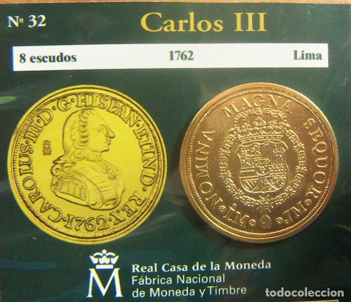 REPRODUCCION MONEDA CARLOS III 8 ESCUDOS 1762 LIMA BAÑO DE ORO EN ENVASE ORIGINAL (Numismática - España Modernas y Contemporáneas - FNMT)