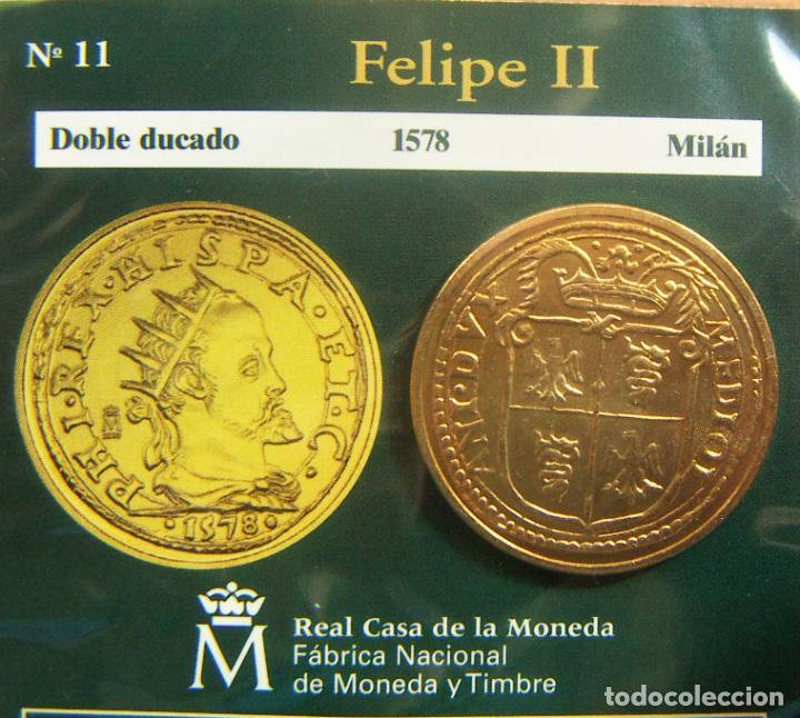 REPRODUCCION MONEDA FELIPE II DOBLE DUCADO 1578 MILAN BAÑO DE ORO EN ENVASE ORIGINAL (Numismática - España Modernas y Contemporáneas - FNMT)