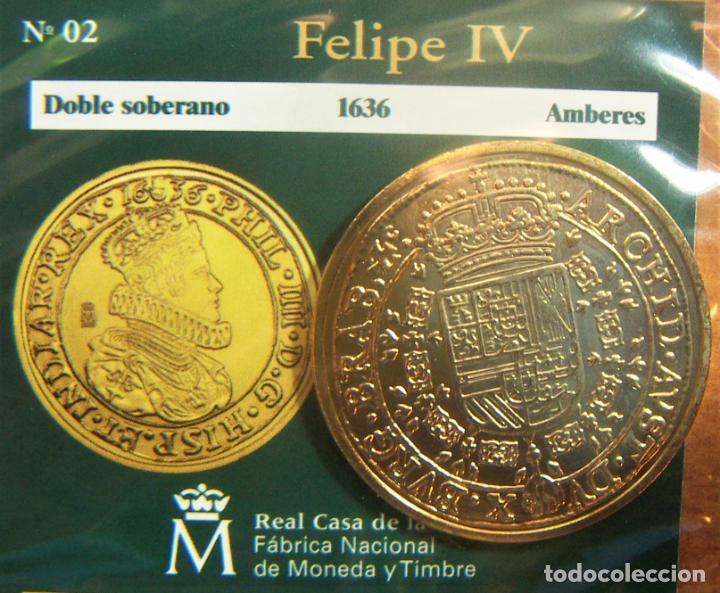 REPRODUCCION MONEDA FELIPE IV DOBLE SOBERANO 1636 AMBERES BAÑO DE ORO EN ENVASE ORIGINAL (Numismática - España Modernas y Contemporáneas - FNMT)