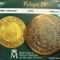 Monedas FNMT: REPRODUCCION MONEDA FELIPE IV DOBLE SOBERANO 1636 AMBERES BAÑO DE ORO EN ENVASE ORIGINAL. Lote 254209400