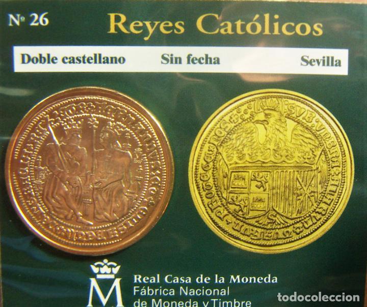 REPRODUCCION MONEDA REYES CATOLICOS DOBLE CASTELLANO SEVILLA BAÑO DE ORO EN ENVASE ORIGINAL (Numismática - España Modernas y Contemporáneas - FNMT)