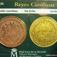 Monedas FNMT: REPRODUCCION MONEDA REYES CATOLICOS DOBLE CASTELLANO SEVILLA BAÑO DE ORO EN ENVASE ORIGINAL. Lote 254209805