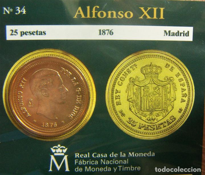 REPRODUCCION MONEDA ALFONSO XII 25 PESETAS 1876 BAÑO DE ORO EN ENVASE ORIGINAL (Numismática - España Modernas y Contemporáneas - FNMT)