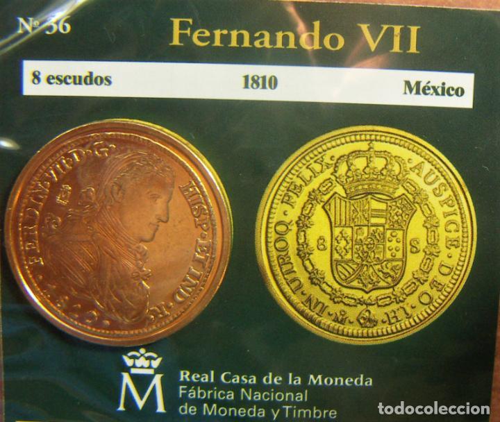 REPRODUCCION MONEDA FERNANDO VII 8 ESCUDOS 1810 MEXICO BAÑO DE ORO EN ENVASE ORIGINAL (Numismática - España Modernas y Contemporáneas - FNMT)