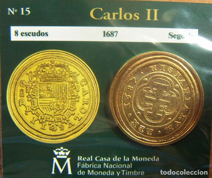 REPRODUCCION MONEDA CARLOS II 8 ESCUDOS 1687 SEGOVIA BAÑO DE ORO EN ENVASE ORIGINAL (Numismática - España Modernas y Contemporáneas - FNMT)