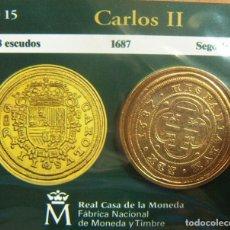 Monedas FNMT: REPRODUCCION MONEDA CARLOS II 8 ESCUDOS 1687 SEGOVIA BAÑO DE ORO EN ENVASE ORIGINAL. Lote 254210895