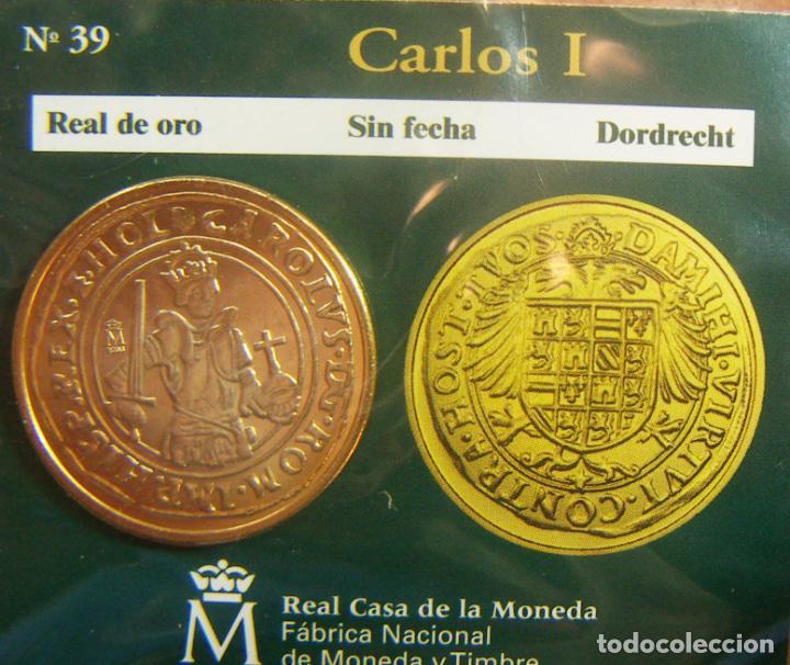 REPRODUCCION MONEDA CARLOS I REAL DE ORO DORDRECHT BAÑO DE ORO EN ENVASE ORIGINAL (Numismática - España Modernas y Contemporáneas - FNMT)