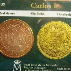 Monedas FNMT: REPRODUCCION MONEDA CARLOS I REAL DE ORO DORDRECHT BAÑO DE ORO EN ENVASE ORIGINAL. Lote 254213315