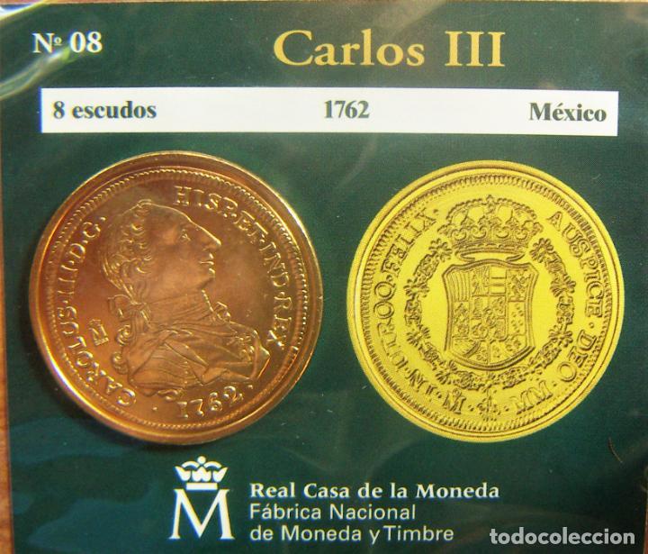REPRODUCCION MONEDA CARLOS III 8 ESCUDOS 1762 MEXICO BAÑO DE ORO EN ENVASE ORIGINAL (Numismática - España Modernas y Contemporáneas - FNMT)