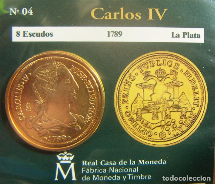 REPRODUCCION MONEDA CARLOS IV 8 ESCUDOS 1789 LA PLATA BAÑO DE ORO EN ENVASE ORIGINAL (Numismática - España Modernas y Contemporáneas - FNMT)