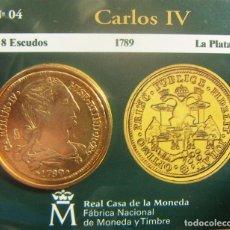 Monedas FNMT: REPRODUCCION MONEDA CARLOS IV 8 ESCUDOS 1789 LA PLATA BAÑO DE ORO EN ENVASE ORIGINAL. Lote 254213925