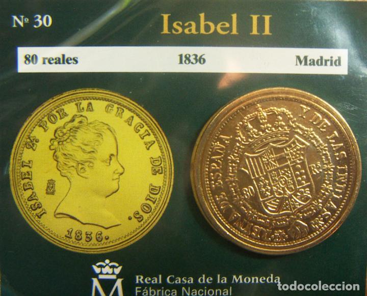 REPRODUCCION MONEDA ISABEL II 80 REALES 1836 MADRID BAÑO DE ORO EN ENVASE ORIGINAL (Numismática - España Modernas y Contemporáneas - FNMT)