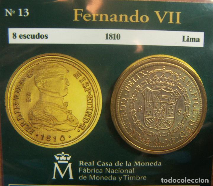 REPRODUCCION MONEDA FERNANDO VII 8 ESCUDOS 1810 LIMA BAÑO DE ORO EN ENVASE ORIGINAL (Numismática - España Modernas y Contemporáneas - FNMT)