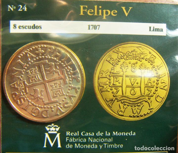 REPRODUCCION MONEDA FELIPE V 8 ESCUDOS 1707 LIMA BAÑO DE ORO EN ENVASE ORIGINAL (Numismática - España Modernas y Contemporáneas - FNMT)