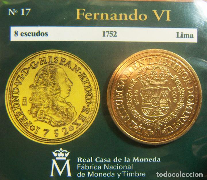 REPRODUCCION MONEDA FERNANDO VI 8 ESCUDOS 1752 LIMA BAÑO DE ORO EN ENVASE ORIGINAL (Numismática - España Modernas y Contemporáneas - FNMT)