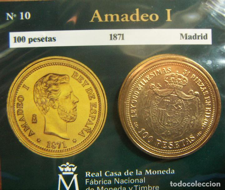 REPRODUCCION MONEDA AMADEO I 100 PESETAS 1871 MADRID BAÑO DE ORO EN ENVASE ORIGINAL (Numismática - España Modernas y Contemporáneas - FNMT)