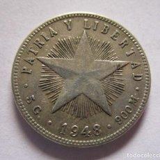 Monete FNMT: CUBA . VEINTE CENTAVOS DE PLATA MUY ANTIGUOS . AÑO DE 1948 . BELLA PATINA. Lote 255933225