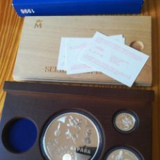 Monedas FNMT: SET MONEDAS FNMT 1998 25, 5, 1 EURO PLATA TEMA MILITAR CON CERTIFICADO MONEDA DE ORO 200 EURO. Lote 261326535
