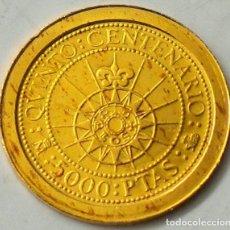 Monedas FNMT: 5.000 PESETAS – JUAN CARLOS I – 1989 – V CENTENARIO – 1,68 GRAMOS ORO 0.999 - PROOF. Lote 263174705