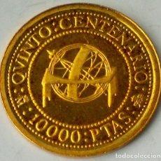 Monedas FNMT: 10.000 PESETAS – JUAN CARLOS I – 1989 – V CENTENARIO – 3,375 GRAMOS ORO 0.999 - PROOF. Lote 263175290
