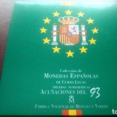 Monedas FNMT: COLECCION MONEDAS ESPAÑOLAS CURSO LEGAL ACUÑACIONES 1993 FNMT NO CIRCULADAS. Lote 268130809