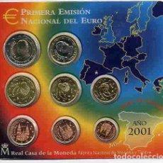 Monedas FNMT: CARTERA OFICIAL FNMT EUROS ESPAÑA 2001 SET 8 MONEDAS ,RB. Lote 268848719