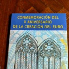 Monedas FNMT: CARPETA LUJO CONMEMORACIÓN DEL X ANIVERSARIO DE LA CREACIÓN DEL EURO. Lote 270159703