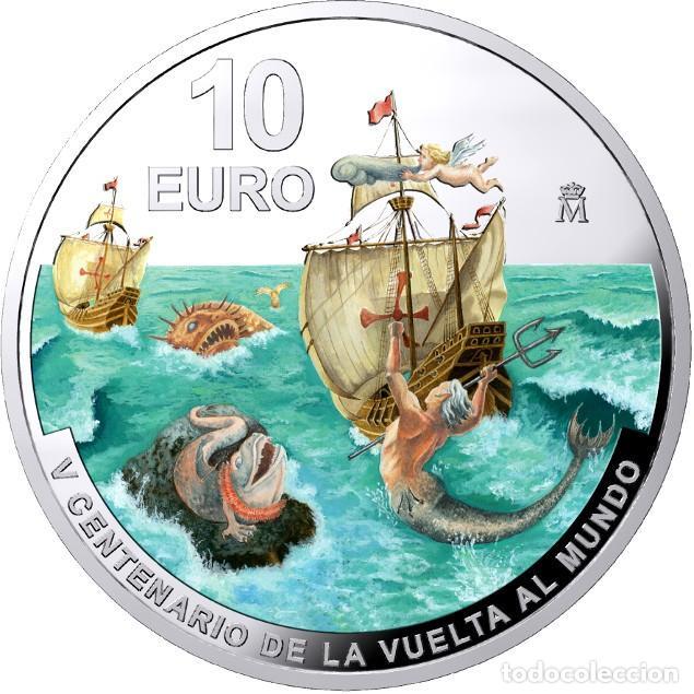 10€ AG. (8 REALES). ESTUCHE OFICIAL FNMT. VºCºVUELTA AL MUNDO. (Numismática - España Modernas y Contemporáneas - FNMT)