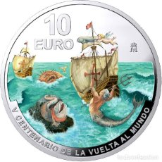 Monedas FNMT: 10€ AG. (8 REALES). ESTUCHE OFICIAL FNMT. VºCºVUELTA AL MUNDO.. Lote 277050813
