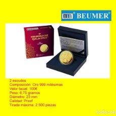 Monedas FNMT: 100€ ORO ( 2 ESCUDOS). ESTUCHE OFICIAL FNMT. FIFA 2022 QATAR, CON CERTIFICADO DE AUTENTICIDAD.. Lote 277073378