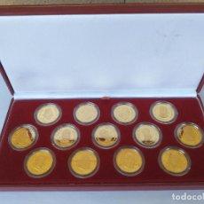 Monedas FNMT: ARRAS MONEDAS REALES AUSTRIAS Y BORBONES ESTUCHE FNMT 13 MONEDAS DE PLATA CHAPADA EN ORO DE 24 KT. Lote 278564973