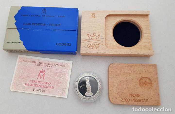 MONEDA PLATA BARCELONA 92 CASTELLERS 1990 PROOF CAJA Y CERTIFICADO (Numismática - España Modernas y Contemporáneas - FNMT)