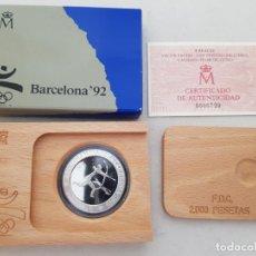 Monedas FNMT: MONEDA PLATA BARCELONA 92ARQUERO PREHISTORICO 1990 PROOF CAJA Y CERTIFICADO. Lote 285048713
