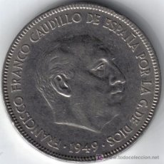 Monedas Franco: ESPAÑA 5 PESETAS 1949 * 19-49. Lote 209679775