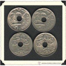Monedas Franco: 10 MONEDAS DE 50 CENTIMOS DE AGUJERO 1949 Y 1963. 2 REALES. Lote 27189567