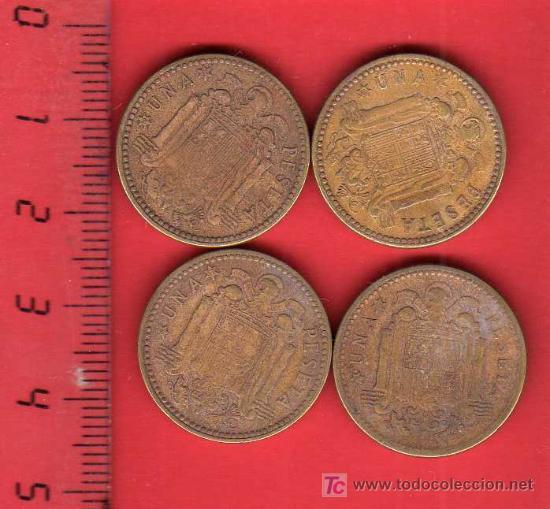 Monedas Franco: lote 4 MONEDAS 1 PESETA 1947 *53 - CIRCULADAS - Foto 2 - 21422234