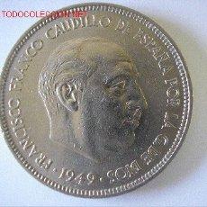 Monedas Franco: EXCELENTES 5 PESETAS 1949 (*49) . Lote 27146723