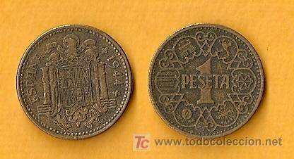 1944 MONEDA DE 1 PESETA (Numismática - España Modernas y Contemporáneas - Estado Español)