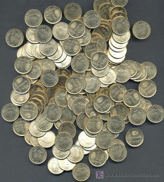 LOTE DE 100 MONEDAS DE 1 PESETA ,AÑO 1980-81 MUNDIAL NUEVAS FDC (Numismática - España Modernas y Contemporáneas - Estado Español)
