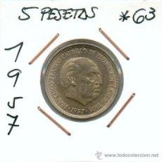 Monedas Franco: 5 PESETAS 1957*63 LA MAS RARA. EMITIDA POR FRANCISCO FRANCO. EXAMINALA BIEN ES PRECIOSA.. Lote 26968349