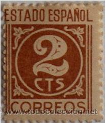 SELLO CORREOS ESTADO ESPAÑOL 2 CENTIMOS CTS 1937-1940 SIN USAR, DESPLAZADO (Numismática - España Modernas y Contemporáneas - Estado Español)