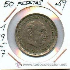 Monedas Franco: 50 PESETAS 1957*59...MONEDA DEL ESTADO ESPAÑOL. EMITIDA POR FRANCISCO FRANCO. Lote 18099921
