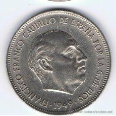Monedas Franco: MONEDA DE 5 PESETAS, AÑO 1949 *50, ESTADO EBC, VER FOTOS. Lote 27614331