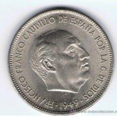 Monedas Franco: MONEDA DE 5 PESETAS, AÑO 1949 *50, ESTADO SC-, VER FOTOS. Lote 27388195